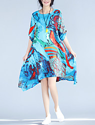 Women's Plus Size Casual/Daily Beach Street chic Swing Dress,Print Round Neck Knee-length Asymmetrical ½ Length Sleeve Cotton LinenBlue