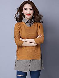 Women's Office/Career Dailywear Date Vintage Long Set,Mixed Color Shirt Collar Long Sleeves N/A Fall Medium Inelastic