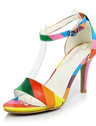 Sandali-Ufficio e lavoro Formale Casual-Club Shoes-A stiletto-Velluto Materiali personalizzati Finta pelle-Nero Bianco Arcobaleno