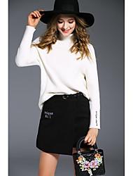 signer angelababy2016 hiver nouvelle moitié de support solide col roulé veste jupe femelle de laine coréenne chandail +