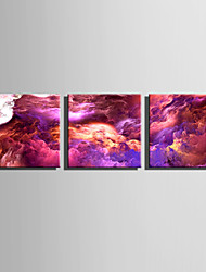 cheap -E-HOME Stretched Canvas Art Purple Cloud Wonders Decoration Painting Set Of 3