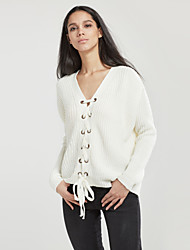 cheap -Street chic Regular Pullover,Solid V Neck Long Sleeve Polyester Winter Thin Micro-elastic