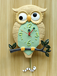 Modern/Contemporary Houses Silent Night Clock Creative Resin European Owl Wall ClockNovelty Polyresin 34*44*22 Indoor Clock