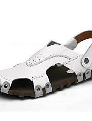 cheap -Men's Shoes Nappa Leather Spring Summer Fall Comfort Sandals Water Shoes for Casual Office & Career Outdoor White Black Light Brown