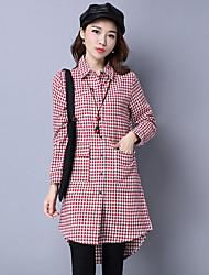 unterzeichnen 2017 Frühling koreanischen Frauen Baumwolle mit langen Ärmeln kariertes Hemd Mantel