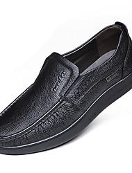 Men's Oxfords Spring Summer Fall Winter Comfort Moccasin Leather Outdoor Office & Career Casual Party & Evening Flat Heel RufflesBlack