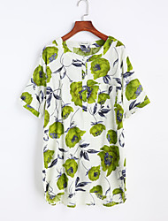 Kortærmet Krave Medium Damer Blomstret Efterår Sexet I-byen-tøj T-shirt,Bomuld