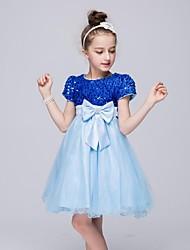 cheap -Ball Gown Knee Length Flower Girl Dress - Organza Short Sleeves Jewel Neck by YDN
