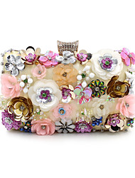 Women Bags Spring Summer Fall Winter All Seasons Polyester Evening Bag Imitation Pearl Crystal/ Rhinestone Flower for Wedding Event/Party