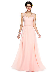 cheap -A-Line V Neck Floor Length Georgette Bridesmaid Dress with Bow(s) Sash / Ribbon by LAN TING BRIDE®