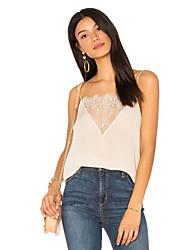 cheap -Women's Daily Street chic Summer Blouse,Solid Strap Sleeveless Linen Medium