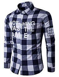 Camicia Da uomo Taglie forti Casual Sportivo Semplice Per tutte le stagioni,Con stampe Monocolore Pied-de-poule Colletto Cotone RayonBlu