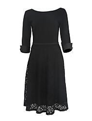Gaine Robe Femme Grandes Tailles Soirée / Cocktail Vintage,Couleur Pleine Col Arrondi Mi-long Manches ¾ Bleu Rouge Noir Polyester Eté