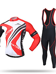 cheap -XINTOWN Men's Long Sleeves Cycling Jersey with Bib Tights - Black Bike Bib Tights Jersey Pants / Trousers Clothing Suits, 3D Pad,