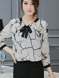Women's Casual/Daily Simple Spring Summer Blouse,Print Round Neck ¾ Sleeve White Polyester Medium