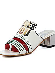 Women's Slippers & Flip-Flops Summer Comfort PU Party & Evening Dress Casual Chunky Heel Rhinestone White Dark Grey Red Walking