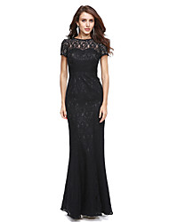 cheap -Mermaid / Trumpet Jewel Neck Floor Length Lace Prom Formal Evening Dress with Lace by TS Couture®