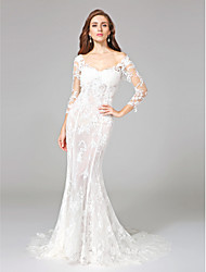 Sereia Cauda Corte Renda Vestido de casamento com Apliques de LAN TING BRIDE®
