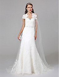 cheap -Sheath / Column Queen Anne Watteau Train Tulle Wedding Dress with Beading Appliques Lace by LAN TING BRIDE®