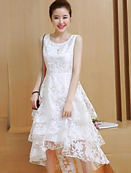cheap -Women's Going out Cotton Lace Dress - Solid Colored White, Lace