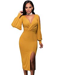 Women's Asymmetrical Mustard Deep V Neck Ruched Bodice Slit Sleeves Midi Dress