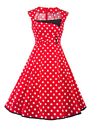 Women's Cut Out Party Vintage Sheath Dress,Polka Dot Square Neck Knee-length Sleeveless Cotton Polyester Red Summer High Rise