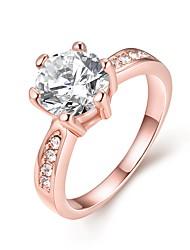 Жен. Классические кольца Обручальное кольцо Кристалл Мода Простой стиль Циркон Сплав Круглой формы Бижутерия Назначение Свадьба Для