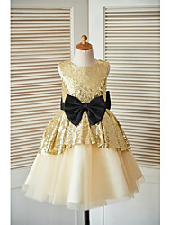 Princess Knee Length Flower Girl Dress - Tulle Sequined Sleeveless Jewel Neck by thstylee