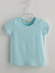 T-shirt Bambino Casual A strisce-Cotone-Estate-Blu Rosa