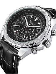 abordables -megir hommes montre-bracelet à quartz calendrier / date / jour bande de cuir vintage noir / marron