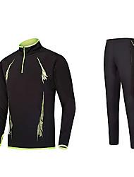 お買い得  -男性用 ランニングTシャツ - 黒 / 緑, 赤 + 黒, ブラック / オレンジ スポーツ トラックスーツ テコンドー, 釣り, エクササイズ&フィットネス 長袖 快適 伸縮性あり クラシック