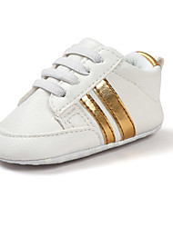 Baby Shoes Leatherette Spring Fall First Walkers Flats Walking Shoes Magic Tape For Casual Outdoor Gold White Black