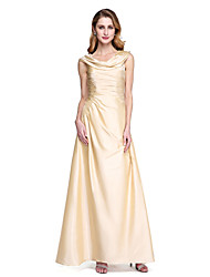 A-Line Cowl Neck Floor Length Taffeta Mother of the Bride Dress with Pleats by LAN TING BRIDE®