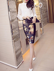 Bodycon Print Knitting Skirts,Casual/Daily Simple High Rise Above Knee Zipper Polyester Stretchy Spring Summer