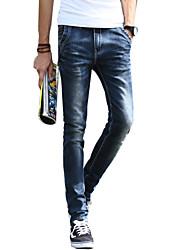 Da uomo Taglia piccola Jeans Pantaloni-Semplice Casual Tinta unita A vita medio-alta Bottoni Poliestere Cotone Micro-elastico All Seasons