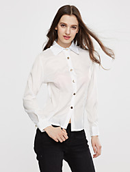 cheap -Women's Solid Pink / White / Green Blouse , Shirt Collar Long Sleeve