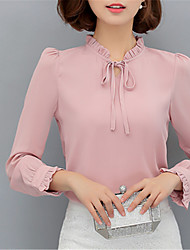 Women's Going out Casual/Daily Work Street chic Spring Blouse,Solid Stand Long Sleeves Polyester Opaque