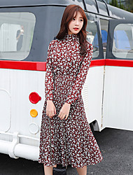 Winter new Women Korean long-sleeved dress was thin long paragraph floral print dress bottoming