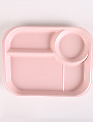 1Pc Household ceramic  breakfast tray matte candy color lattice dividing plate plateseparating fast food meal for children