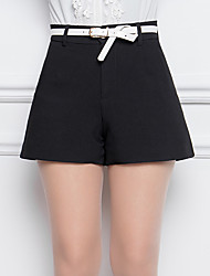 Plus Size Wide Leg Shorts Pants,Going out Casual/Daily Simple Cute Solid High Rise Zipper Button Polyester Micro-elastic Summer