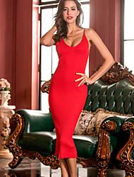 Gaine Tricot Robe Femme Sortie Soirée / Cocktail Soirée Sexy,Couleur Pleine A Bretelles Midi Sans Manches Bleu Rouge Noir Marron Autres