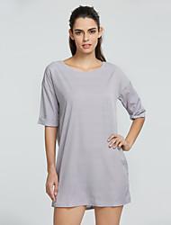 Damen Kleid - Lose Sexy / Party / Arbeit / Leger / Strand Solide Mini Polyester / Chiffon Rundhalsausschnitt
