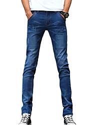 Da uomo Taglia piccola Jeans Pantaloni-Semplice Casual Tinta unita A vita medio-alta Bottoni Cotone Poliestere Micro-elastico All Seasons