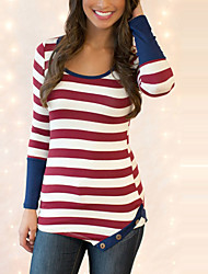 Women's Going out Casual/Daily Street chic All Match Fashion Spring Fall T-shirtStriped Color Block Round Neck Long Sleeve Medium