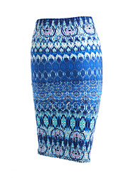 cheap -Women's Print Blue / Red / Black / Gray Skirts,Vintage / Street chic Midi