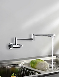 Contemporary Art Deco/Retro Modern Pull-out/­Pull-down Standard Spout Tall/­High Arc Wall Mounted Rain Shower Widespread Rotatable Brass