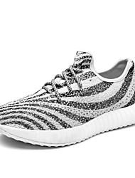 Недорогие -Для мужчин обувь Ткань Весна Лето Светодиодные подошвы Кеды Беговая обувь Шнуровка Назначение Атлетический Повседневные Черный Зебра