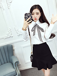 Women's Dailywear Date Sweet 16 School Classical Summer T-shirt Skirt Suits,Others Shirt Collar Long Sleeve Bow Inelastic