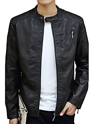 cheap -Men's Daily Going out Work Simple Casual Active Street chic Winter Fall Leather Jacket,Solid Stand Long Sleeve Regular Cotton Polyester