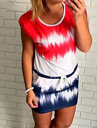 preiswerte -Damen Hülle Kleid-Lässig/Alltäglich Street Schick Einfarbig Rundhalsausschnitt Mini Kurzarm Rot Polyester Sommer Mittlere Hüfthöhe